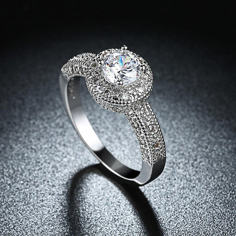 3.50 CTTW Single Crystal Swarovski Elements Pav'e Halo Ring in 18K White Gold Plating | Fashion Under Arrest