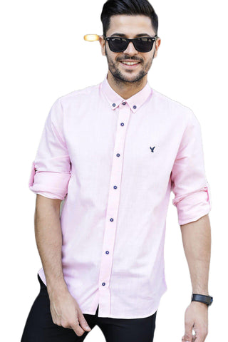 Men's Roll-up Sleeves Pink Shirt.