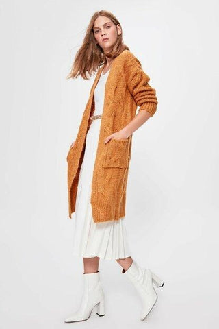 Women's Pocket Mustard Tricot Cardigan