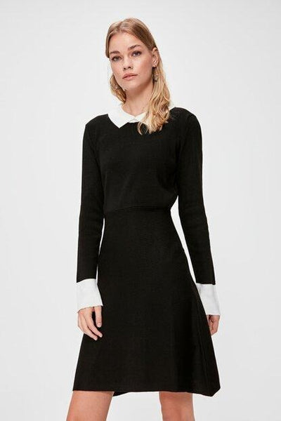 Women's Collar Detail Black Tricot Short Dress - Fashion Under Arrest