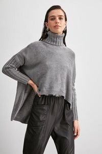 Women's Turtleneck Asymmetric Grey Tricot Sweater - Fashion Under Arrest