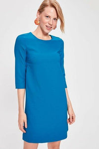 Women's Three-quarter Sleeves Petrol Short Dress.