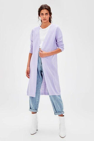Women's Lilac Basic Tricot Cardigan