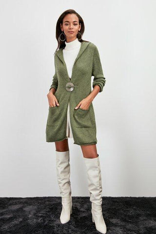 Women's Belted Pocket Khaki Tricot Cardigan