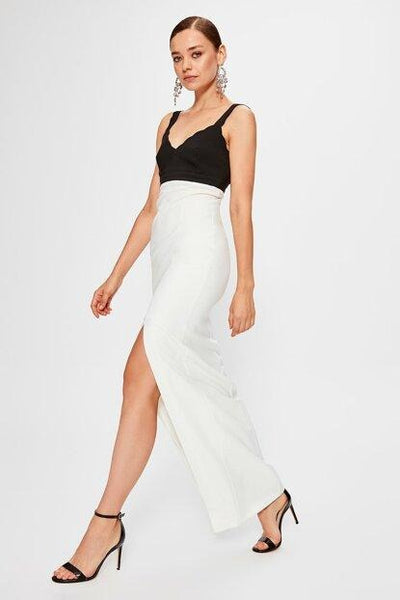Women's Color Block White Long Evening Dress.