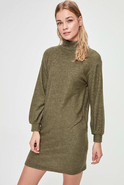 Women's Turtleneck Khaki Soft Short Dress - Fashion Under Arrest