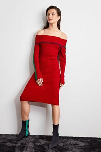 Women's Striped Red Tricot Short Dress.