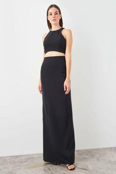 Women's Cut Out Waist Black Evening Dress - Fashion Under Arrest