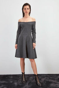 Women's Off Shoulder Grey Short Dress - Fashion Under Arrest