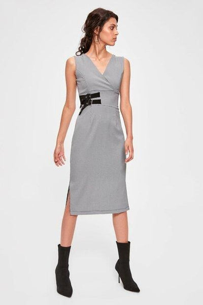 Women's Wrap Collar Grey Dress.