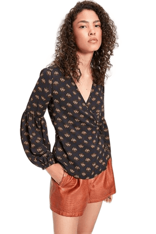Women's Long Sleeves Patterned Blouse - Fashion Under Arrest