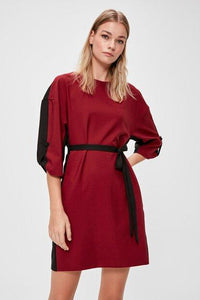 Women's Color Block Claret Red Short Dress.