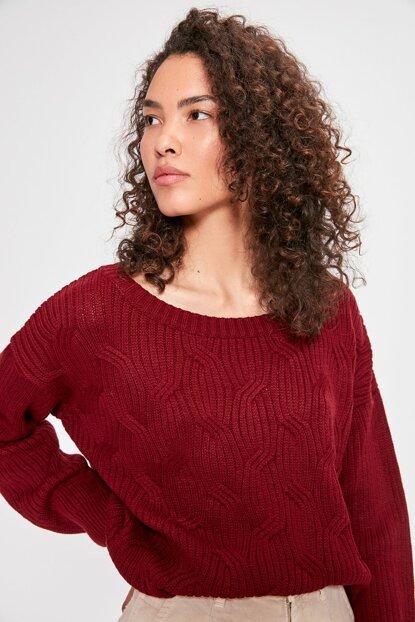 Women's Claret Red Tricot Sweater.