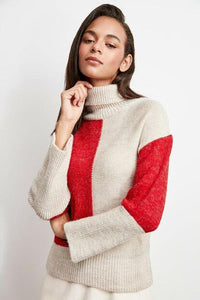 Women's Color Block Beige Tricot Sweater