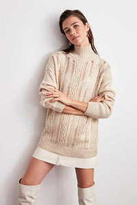 Women's Beige Tricot Sweater