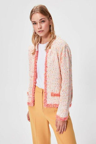 Women's Pocket Patterned Tricot Cardigan.