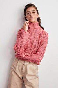 Women's Turtleneck Pink Tricot Sweater