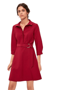 Women's Belted Claret Red Short Dress.