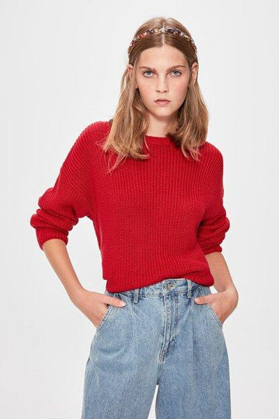 Women's Basic Red Tricot Sweater.