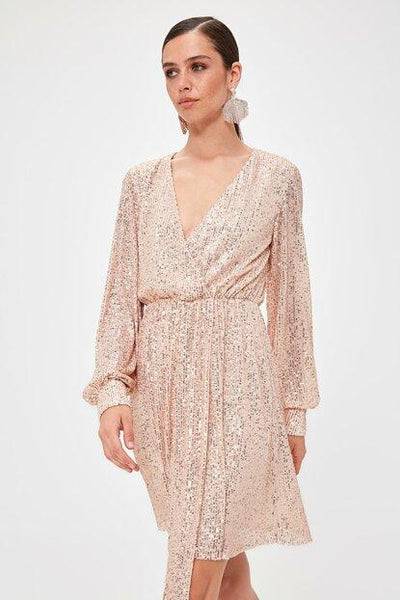 Women's Wrap Collar Sequin Powder Rose Short Dress.