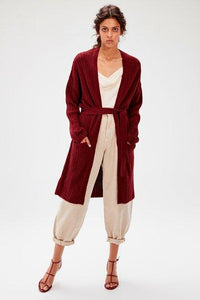 Women's Belted Claret Red Tricot Cardigan