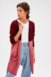 Women's Pocket Color Block Tricot Cardigan