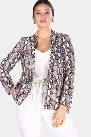 Women's Patterned Beige Blazer Jacket - Fashion Under Arrest
