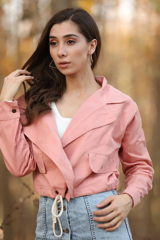 Women's Pocket Powder Rose Short Denim Jacket - Fashion Under Arrest