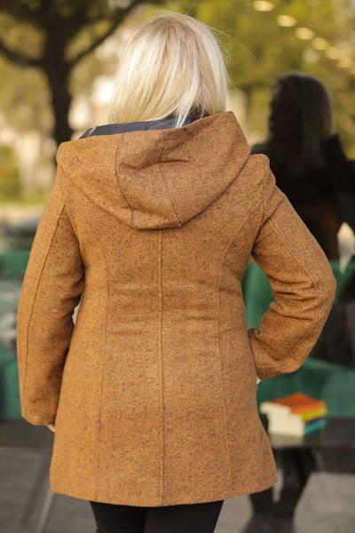 Women's Oversize Hooded Pocket Mustard Coat