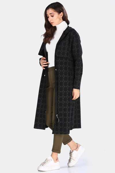 Women's Hooded Patterned Khaki Long Jacket