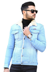 Men's Furry Blue Denim Jacket