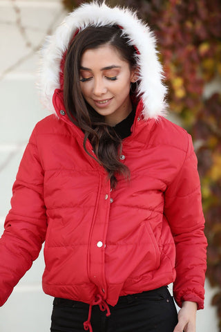 Women's Furry Hooded Red Coat - Fashion Under Arrest