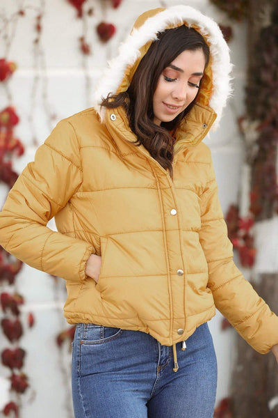 Women's Furry Hooded Yellow Coat - Fashion Under Arrest