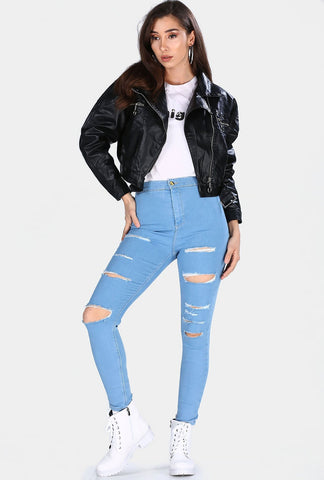 Women's Ripped Blue Jeans - Fashion Under Arrest