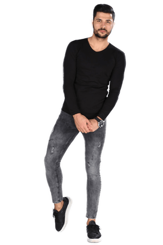 Men's Ripped Anthracite Jeans.