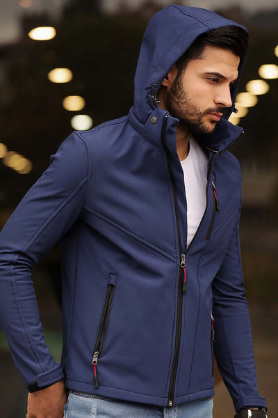 Men's Hooded Indigo Jacket