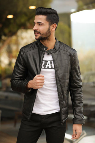 Men's Crew Neck Black Leather Jacket