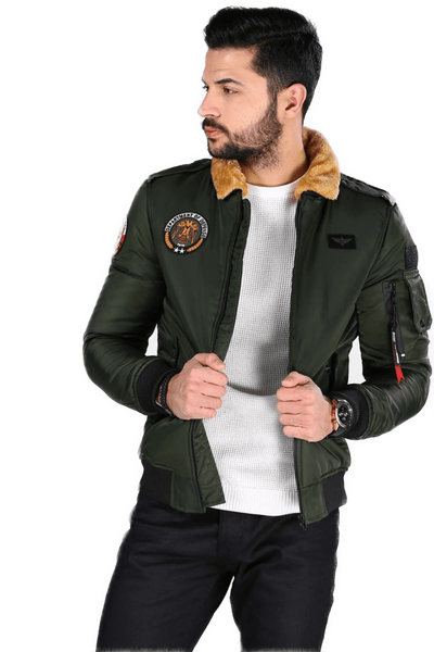Men's Fur Collar Khaki Jacket.
