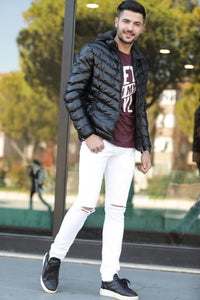 Men's Ripped White Jeans