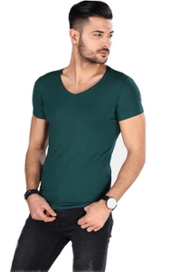 Men's Slim Fit V-neck Green T-Shirt