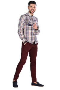 Men's Pocket Claret Red Trousers