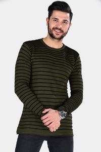 Men's Striped Khaki Jumper - Fashion Under Arrest
