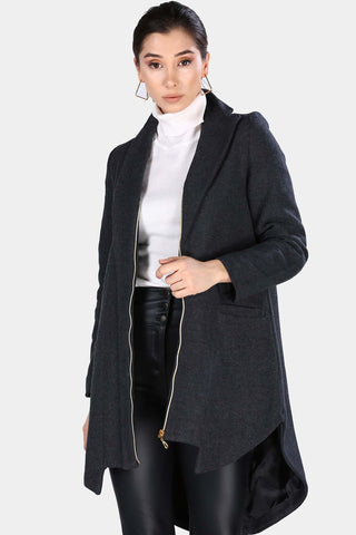 Women's Zipped Anthracite Coat - Fashion Under Arrest