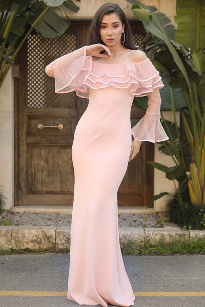 Boat Neck Salmon Evening Gown