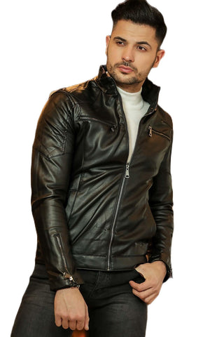 Men's Zipped Black Leather Jacket