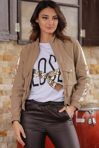 Women's Zipped Camel Jacket - Fashion Under Arrest