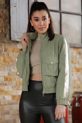 Women's Zipped Khaki Jacket - Fashion Under Arrest
