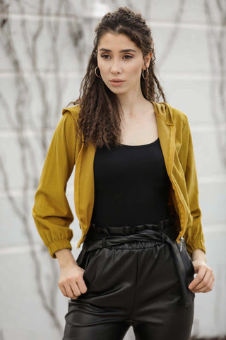 Women's Hooded Pocket Mustard Velvet Jacket - Fashion Under Arrest