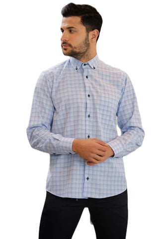Men's Plaid Blue Shirt.