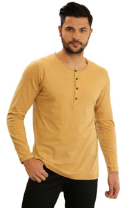 Men's Button Collar Mustard Sweatshirt-1